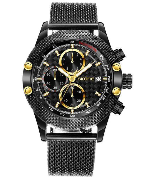 Skone Wotton Chronograph Men's Watch Black Milanese Mesh Strap - Black
