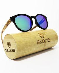 e4a65277d926 Skone Maundays Round Black UV400 Polarized Walnut Wood Sunglasses - Blue  Mirrored