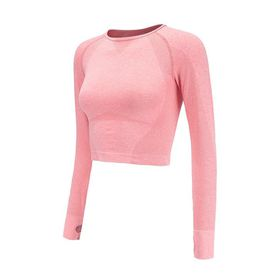 5e4c1020fcc Rough Loli Women's Seamless Long Sleeve Fitness Yoga Crop Top - Pink