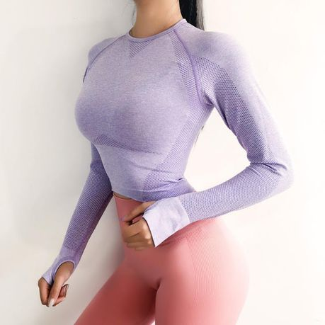 44d62788bc2 Rough Loli Women's Seamless Long Sleeve Fitness Yoga Crop Top ...