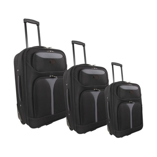 Marco Soft Case Luggage Bag Set of 3 - Black/Grey