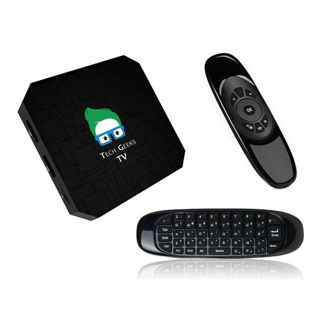 Tech Geeks Mini 4K Android TV Box+Air Mouse Remote+DSTV Now and