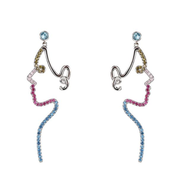Civetta Spark Picasso Face Earrings with Swarovski Crystal