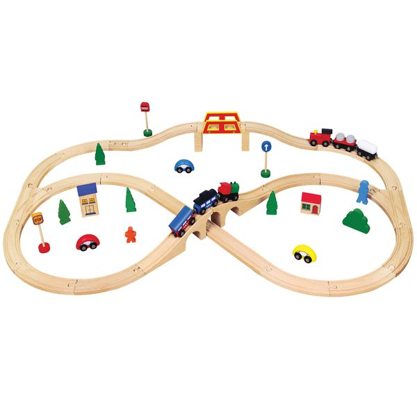 Viga - Wooden Train Set with Accessories - 49pc