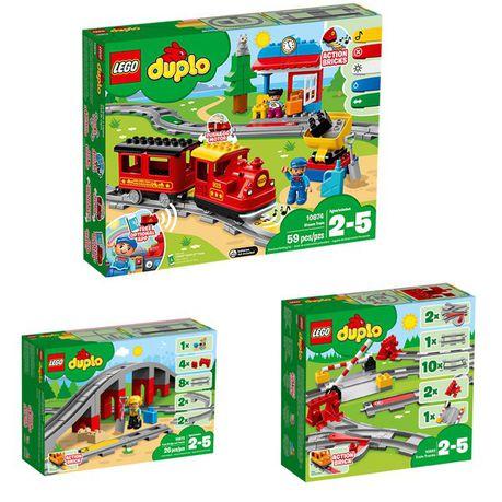 LEGO 10872 DUPLO Town Train Bridge and Tracks Building Bricks Set with Horn Sound Action Brick