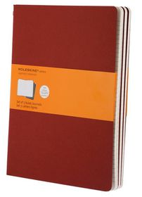 Moleskine Set of 3 Ruled Cahier Journals - Cranberry Red - Extra Large