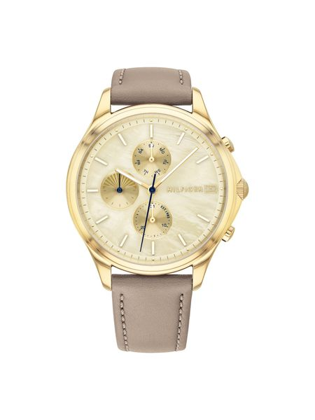 Tommy Hilfiger Female Whitney Gold Dial- Glod Case - Brown Leather Strap