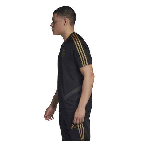 adidas mens real madrid short sleeve training jersey black gold