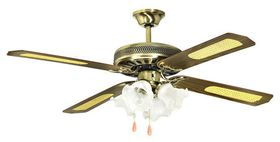 Goldair - Deluxe 4 Light Ceiling Fan - 132cm - gold and brown