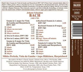 Bach:Sons for Viola Da Gamba & Harpsi - (Import CD)