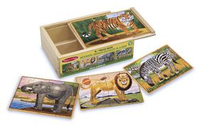 Melissa & Doug Wild Animals Puzzles in a Box - 12 Piece